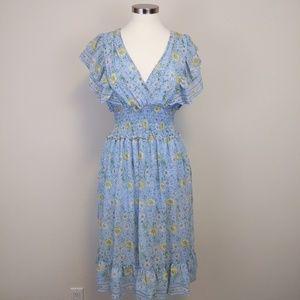 Max Studio Floral Flutter-Sleeve Ruffle Dress Sz L